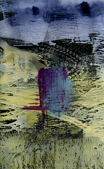Abstract painting with yellow, purple, black